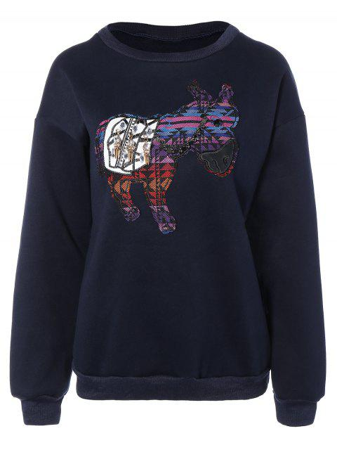 new Animal Patched Sweatshirt - DEEP BLUE M Mobile