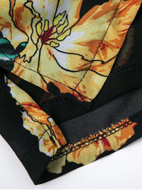 shop Floral Print Off  Shoulder Romper - BLACK M Mobile