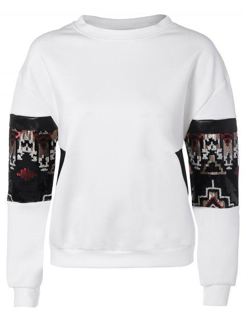Sweat-shirt à paillettes ras du cou - Blanc M Mobile