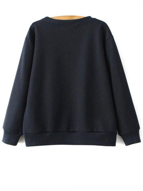 affordable Sequins Letter Sweatshirt - CADETBLUE M Mobile