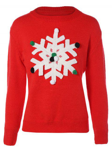 ladies Snowflakes Christmas Sweater - RED S Mobile