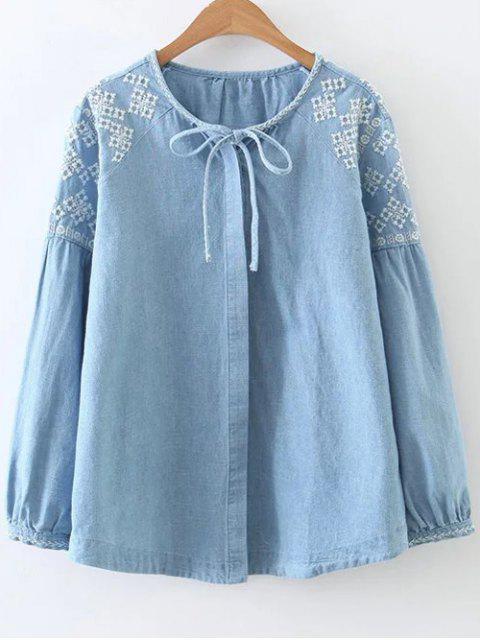 affordable Embroidered Shoulder Denim Blouse - DENIM BLUE S Mobile