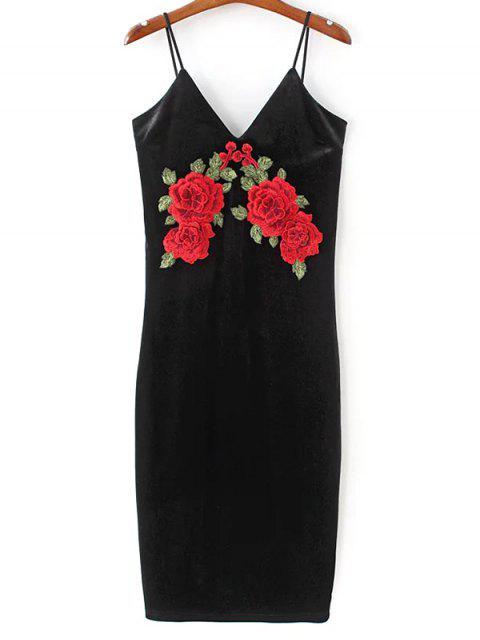 affordable Embroidered Velvet Cami Vintage Dresses - BLACK L Mobile