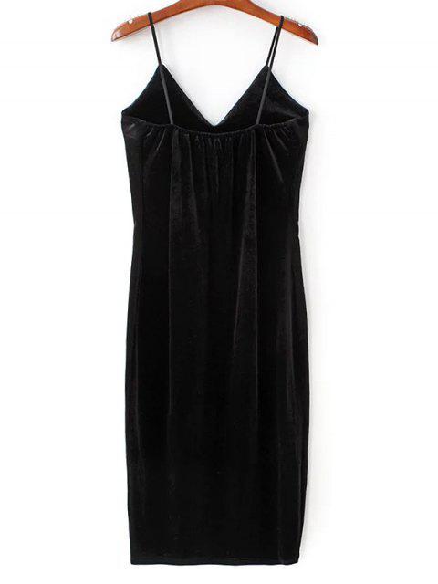 buy Embroidered Velvet Cami Vintage Dresses - BLACK M Mobile