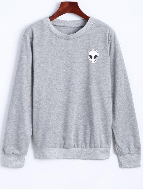 outfit Fitting Skull Sweatshirt - LIGHT GRAY S Mobile