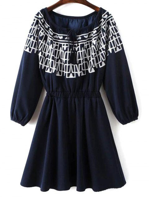 fashion Contrasting Embroidery Long Sleeve Dress - MIDNIGHT M Mobile