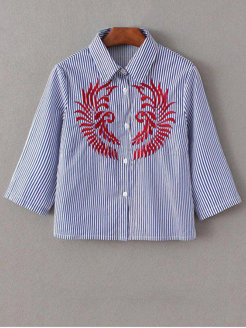 womens Striped Embroidered Cropped Shirt - BLUE AND WHITE M Mobile