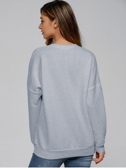 womens Ribbed Lace Up Sweatshirt - SMOKY GRAY XL Mobile