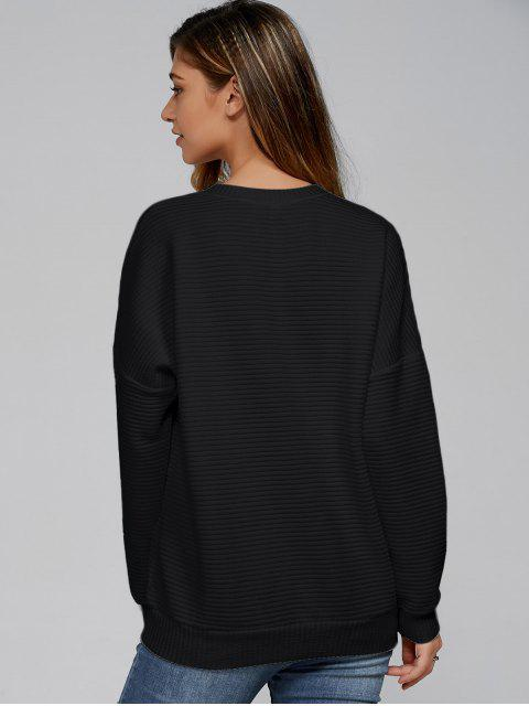 ladies Ribbed Lace Up Sweatshirt - BLACK XL Mobile