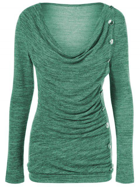 latest Plus Size Ruched Button Embellished Pullover Top - GREEN 5XL Mobile