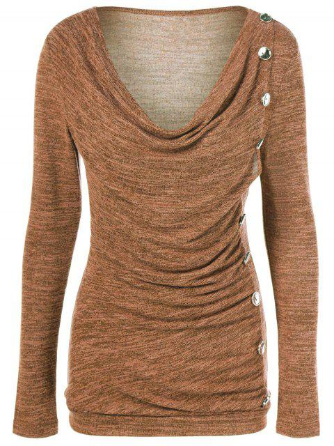 affordable Plus Size Ruched Button Embellished Pullover Top - OCHRE YELLOW 3XL Mobile
