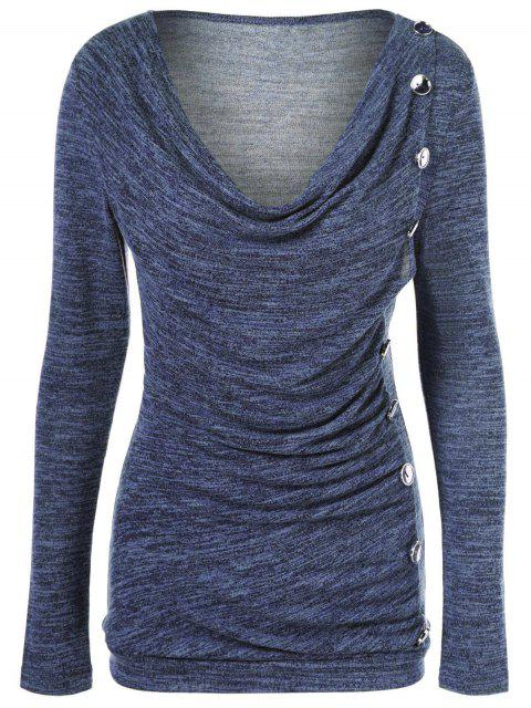 outfits Plus Size Ruched Button Embellished Pullover Top - MEDIUM BLUE XL Mobile