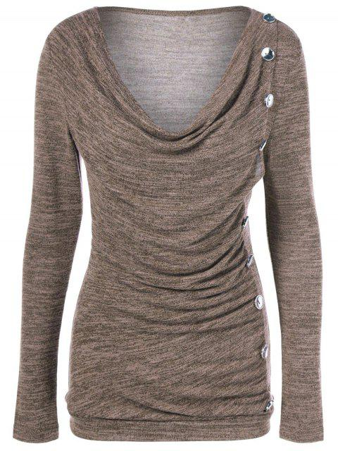trendy Plus Size Ruched Button Embellished Pullover Top - LIGHT COFFEE 2XL Mobile