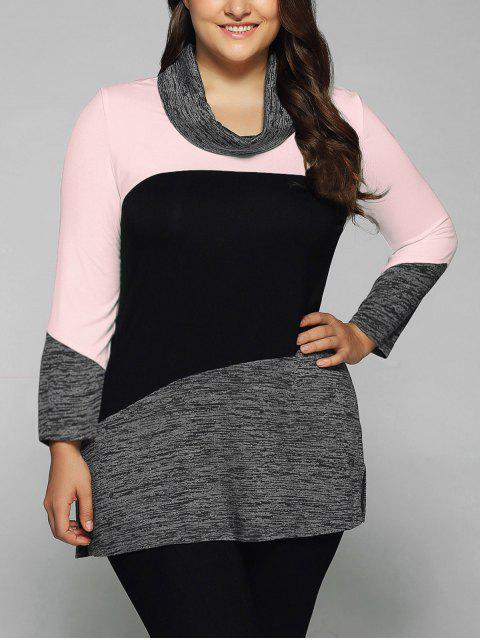 latest Heathered Cowl Neck Plus Size Blouse - PINK 2XL Mobile
