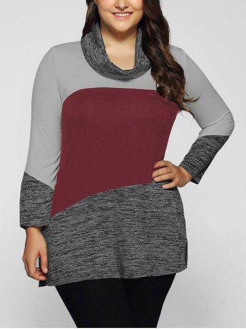 fashion Heathered Cowl Neck Plus Size Blouse - DARK RED 5XL Mobile