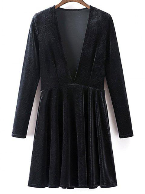 affordable Velvet A-Line Dress - BLACK M Mobile