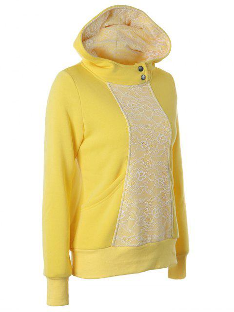 ladies Lace Trimmed Pullover Hoodie - YELLOW M Mobile