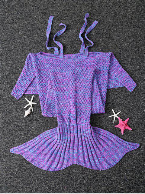 buy Sleeping Bag Knitted Mermaid Blanket - PURPLE  Mobile