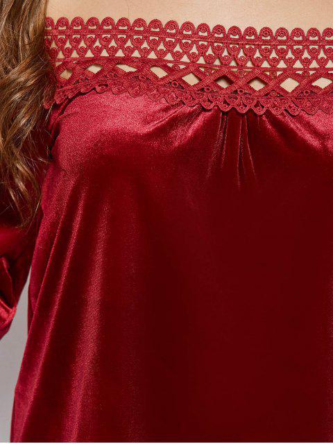 outfits Lace Trim Off The Shoulder Velvet Top - BURGUNDY S Mobile