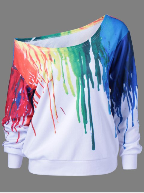 trendy Skew Collar Dripping Paint Sweatshirt - WHITE L Mobile
