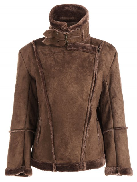 fancy Faux Shearling Jacket - COFFEE S Mobile