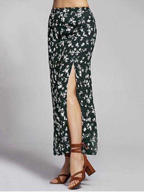 ladies Print High Slit High Waist Floral Skirt - BLACK M Mobile