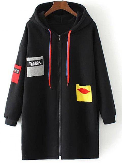 chic Patched Zip-Up Hoodie - BLACK XL Mobile