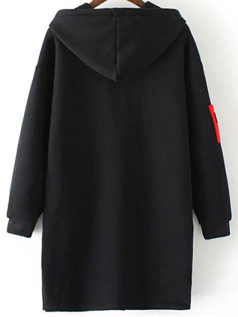 fashion Patched Zip-Up Hoodie - BLACK 2XL Mobile