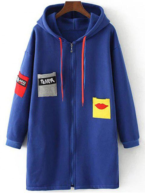 affordable Patched Zip-Up Hoodie - SAPPHIRE BLUE 3XL Mobile