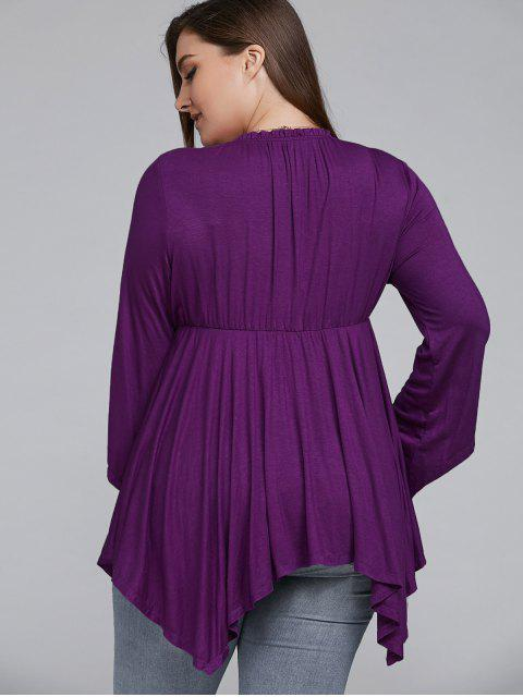 womens Asymmetrical Plus Size Empire Waist Blouse - PURPLE 5XL Mobile