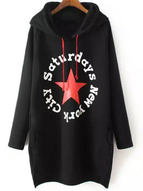 women's String Letter Hoodie - BLACK 3XL Mobile