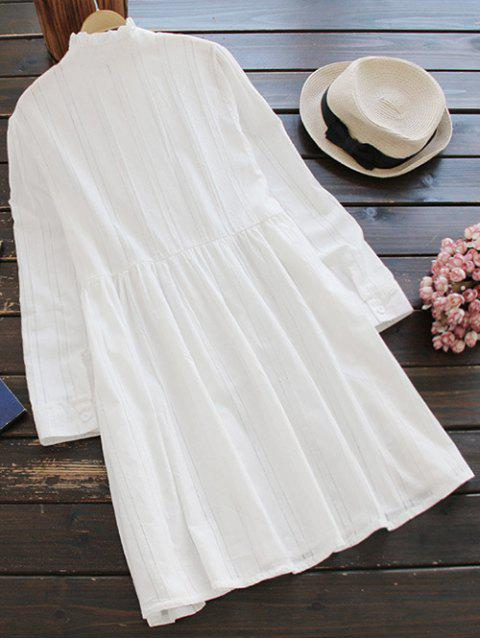 shop Ruff Collar Smock Dress - WHITE ONE SIZE Mobile
