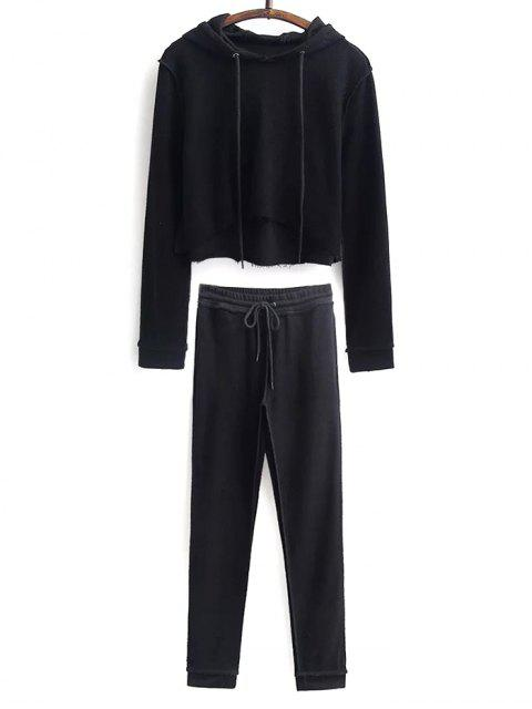 affordable Cropped Hoodie and Drawstring Sports Pants -   Mobile