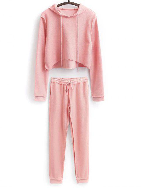 women Cropped Hoodie and Drawstring Sports Pants - PINK L Mobile