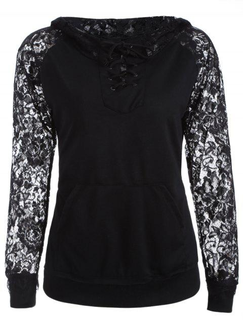 chic Lace Spliced Lace Up Hoodie - BLACK S Mobile