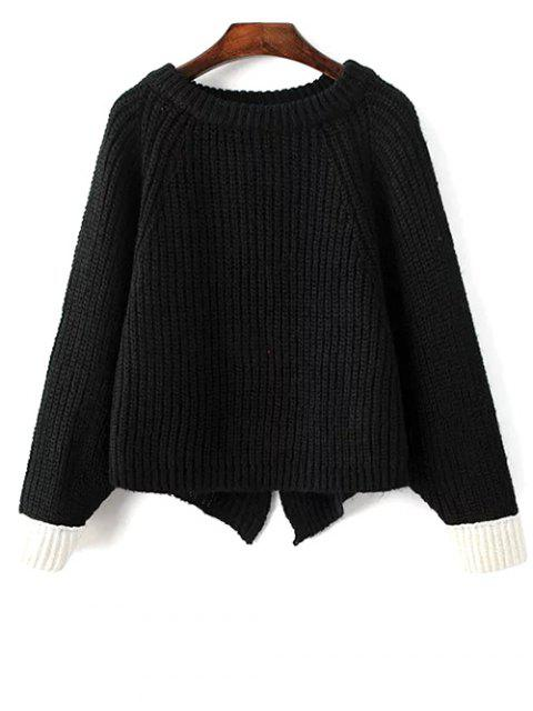 trendy Slit Asymmetric Sweater - BLACK ONE SIZE Mobile