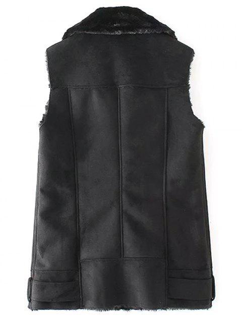 womens Zip-Up Fuax Suede Waistcoat - BLACK L Mobile