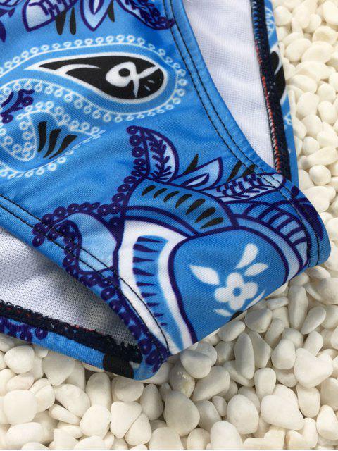 fashion Printed Halter Neck Bikini - BLUE AND WHITE M Mobile