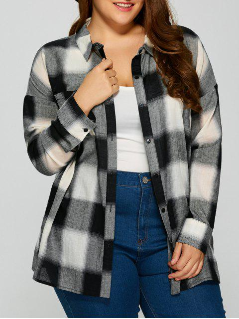 shops Plaid Drop Shoulder Plus Size Shirt - CHECKED 5XL Mobile