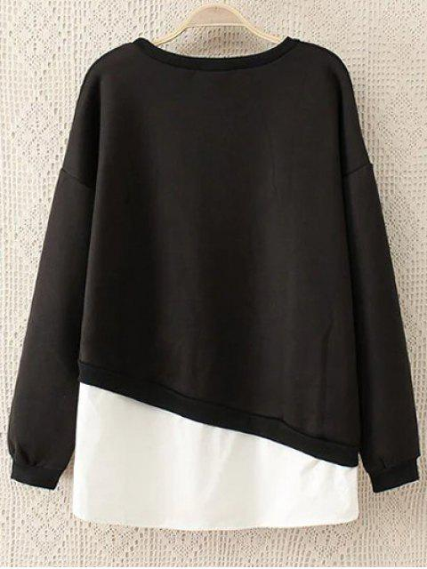 latest Embroidered Shirt Panel Sweatshirt - BLACK 5XL Mobile