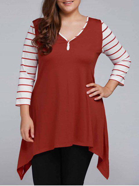 online Striped Sleeve Asymmetrical Plus Size Tee - CLARET 4XL Mobile