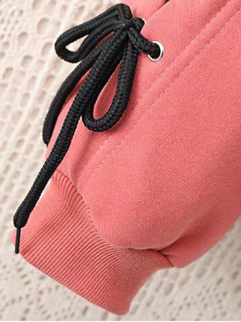 sale Fleeced Lace Up Sleeve Graphic Sweatshirt - BLACK 3XL Mobile