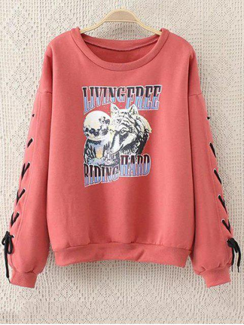 women's Fleeced Lace Up Sleeve Graphic Sweatshirt - WATERMELON RED 2XL Mobile