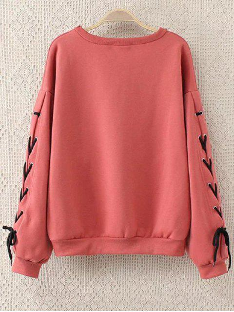 buy Fleeced Lace Up Sleeve Graphic Sweatshirt - WATERMELON RED 5XL Mobile