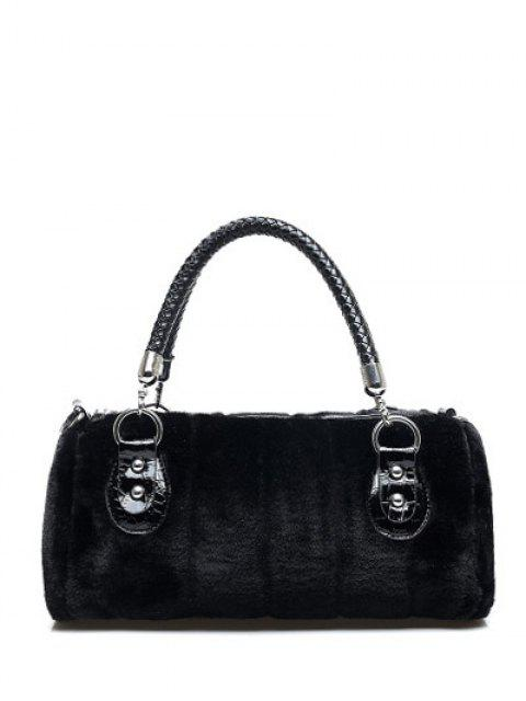shop Faux Fur Metal Splicing Tote Bag - BLACK  Mobile