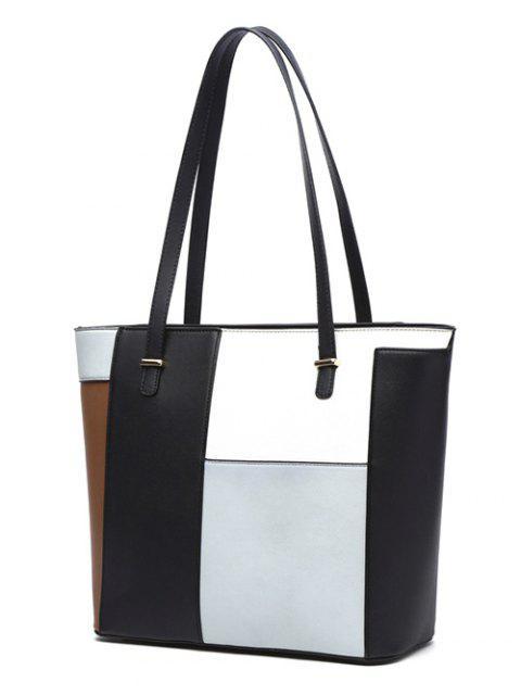 shops Faux Leather Color Block Shoulder Bag - LIGHT GREY  Mobile