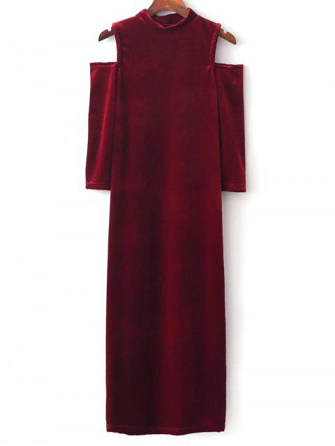 ladies Cold Shoulder Velour Dress - RED M Mobile