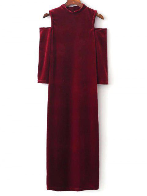 Robe moulante col droite sans l'épaule - Rouge L Mobile