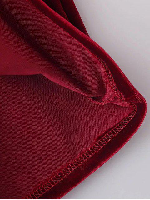 lady Cold Shoulder Velour Dress - RED S Mobile