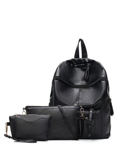 Taschen Reißverschlüsse Textured Leder Rucksack - Schwarz  Mobile